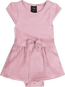 Vestido Body em Cotton com Saia Sobreposta em Chiffon e Laço Rosa