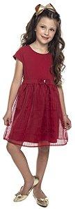 Vestido Infantil Menina Laço Bordo