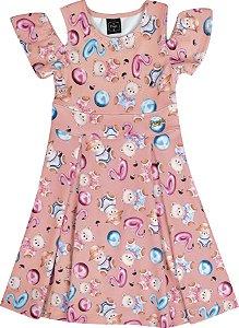 Vestido Infantil Menina Ursinho Salmão