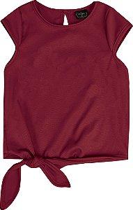 Blusa Infantil Menina Amarração Vermelho