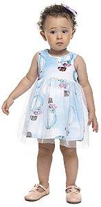 Vestido Bebê Menina Balão Azul