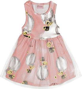 Vestido Bebê Menina Balão Salmão