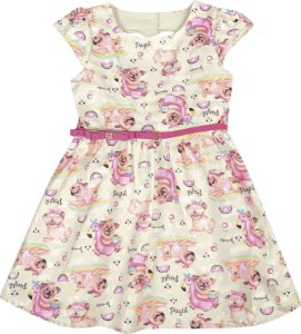 Vestido  Bebê Menina Cachorrinho Bege