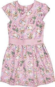 Vestido Infantil Menina Cachorrinho Rosa