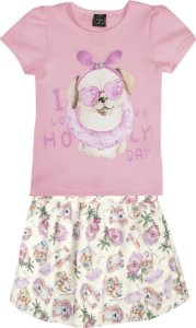 Conjunto Infantil Menina Cachorrinho Rosa