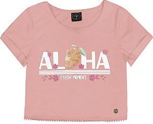 Blusa Infantil Menina Aloha Salmão