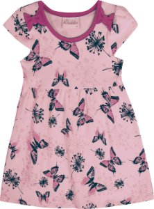 Vestido Bebê Menina Borboleta Rosa