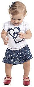 Conjunto Bebê Menina Coração Branco