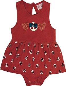 Body Vestido Bebê Menina Âncora Vermelho