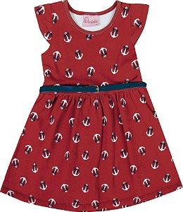 Vestido Bebê Menina Âncora Vermelha