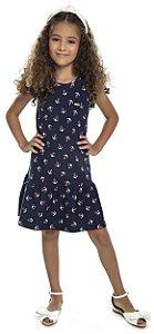 Vestido Infantil Menina Âncora Azul