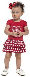 Vestido Bebê Menina Amour Vermelho