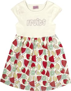 Vestido Bebê Menina Fruits Bege