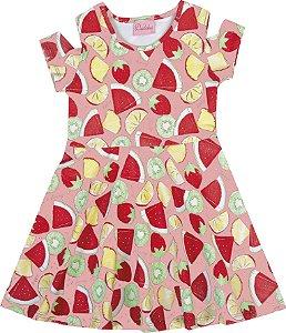 Vestido Infantil Menina Frutas Salmão