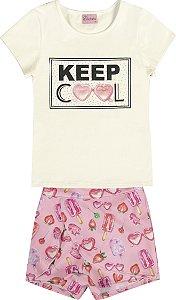 Conjunto Infantil Menina Keep Cool Bege