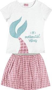 Conjunto Infantil Menina Mermaid Branco