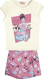 Conjunto Infantil Menina Travel Bege