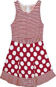 Vestido  Bebê Menina Listrado Vermelho