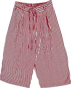Calça Pantacourt Infantil Menina Listrada Vermelho