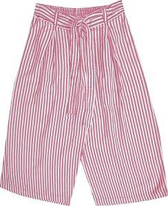 Calça Pantacourt Infantil Menina Listrada Rosa