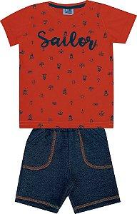 Conjunto Bebê Menino Sailor Laranja