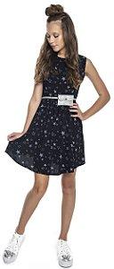 Vestido Juvenil Menina Estrelas Preto