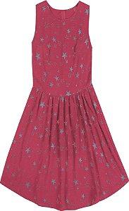 Vestido Juvenil Menina Estrelas Rosa