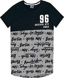 Camiseta Juvenil Menino Escrita Preto