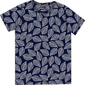 Camiseta Infantil Menino Folhas Azul Marinho