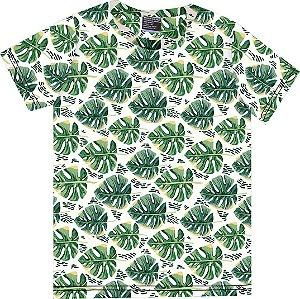 Camiseta Infantil Menino Folhas Bege