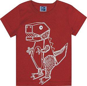 Camiseta Bebê Menino Dinossauro Vermelho