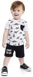Conjunto Bebê Menino Dinossauro Branco