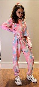 Blusão Cropped Infantil Menina Tie Dye Rosa
