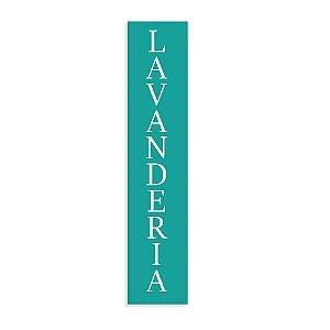 Placa Decorativa Vertical Lavanderia Azul