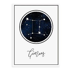 Placa decorativa Constelação Gêmeos