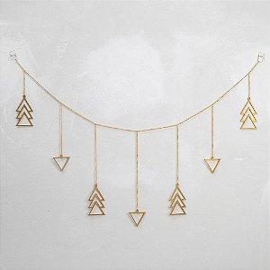 Móbile Triângulos Horizontal Dourado