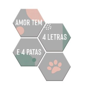 Kit Plaquinhas Amor tem 4 patas