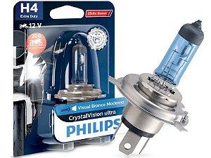 Lâmpada Farol Philips H4 60/55W Cristalvision Moto