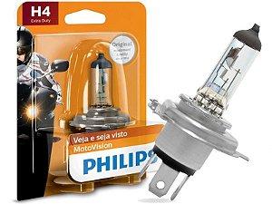 Lâmpada Farol Philips H4 60/55W Motovision