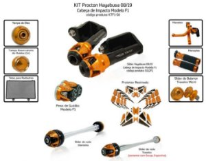 Kit Slider Hayabusa 08 a 2019 Procton ( 11 peças)