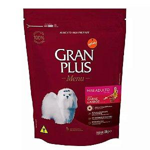 Ração GranPlus Menu Cães Mini Carne e Arroz 3kg