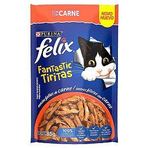 Ração Úmida Felix Fantastic Sachê Tiras Carne 85g - Purina