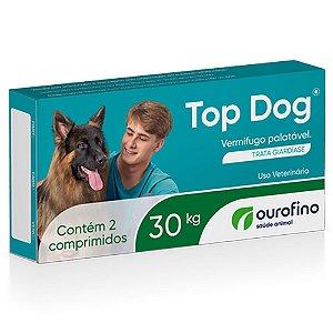 Vermífugo Palatável Top Dog 30kg 2 Comprimidos - Ourofino