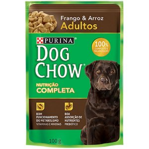 Ração Úmida Dog Chow Sachê Cães Adultos Sabor Frango e Arroz 100g - Purina
