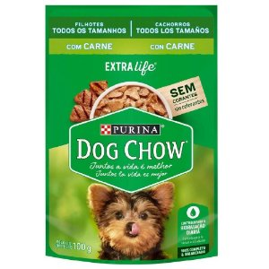 Ração Úmida Dog Chow Sachê Cães Filhotes Sabor Carne 100g - Purina