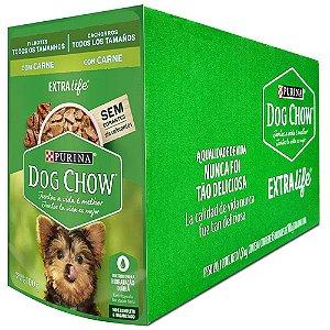 Ração Úmida Purina Dog Chow Sachê Úmidos Cães Filhotes Sabor Carne Combo 15un 100g cada