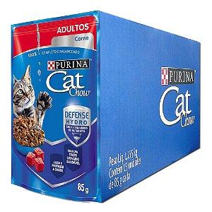 Ração Úmida Cat Chow Sachê Gatos Adultos Sabor Carne Caixa 15un 85g Cada - Purina