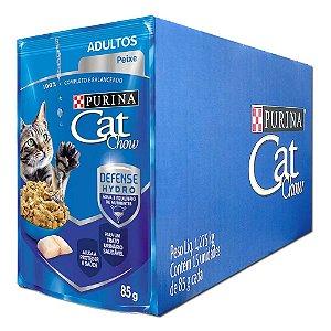 Ração Úmida Purina  Cat Chow Sachê Gatos Adultos Sabor Peixe Caixa 15un 85g Cada