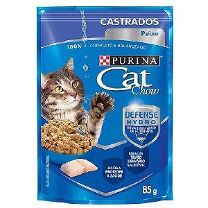 Ração Úmida Purina Cat Chow Sachê Gatos Castrados Sabor Peixe 85g