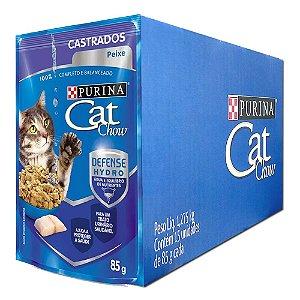 Ração Úmida Purina Cat Chow Sachê Gatos Castrados Sabor Carne Caixa 15un 85g Cada